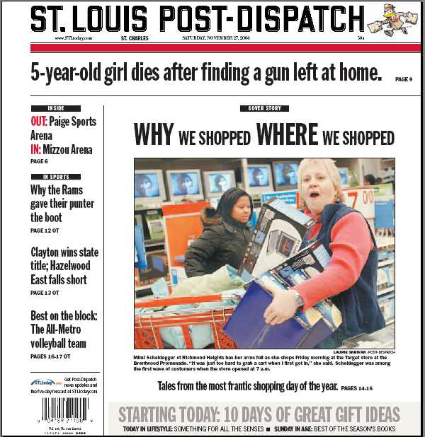 St. Louis Post Dispatch Cover November 27 2004